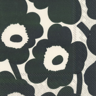 Cocktail-Servietten Unikko - cream green by marimekko