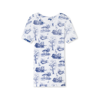 Shirt 1/2 - Greta, Art-Print blau by Schiesser Revival
