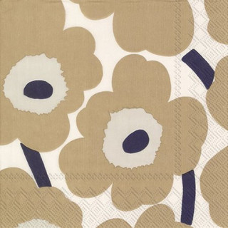 Cocktail-Servietten Unikko - cream linen marimekko by IHR