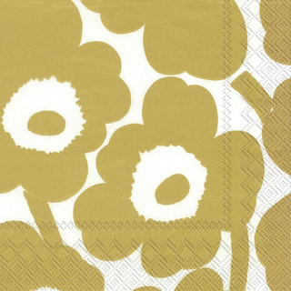 Cocktail-Servietten Unikko - gold by marimekko